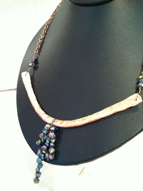 Hand Hammered Copper and Titanium Druzy Beaded Necklace