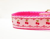 """Pink Dog Collar with Cherries - PINK - 3/4"""" Wide"""