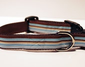 "Dog Collar - Blue and Brown Stripes 3/4"" wide for Boy / Male Dogs"