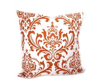 Decorative Throw Pillows.Orange Pillow .Orange Cream Damask .Burnt Orange Pillow 16x16 Pillow Cover.Printed Fabric both sides Cushion Sham