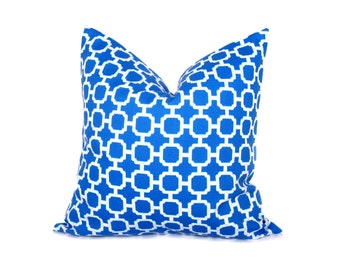 BLUE PILLOW Royal Blue Pillow ONE 24x24 Throw Pillow Covers Lattice Decorative Outdoor Fabric Throw Pillow Covers Printed Fabric both sides