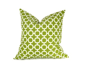 20x20 Pillow Cover Green Pillow Cover  Decorative Throw Pillow Green White Housewares 20 x 20 Printed fabric both sides Cushion Cover