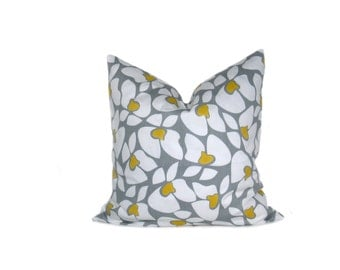GRAY YELLOW PILLOW Gray Pillow Yellow Pillow Decorative Throw Pillow 20x20 Throw Pillow Cover Printed Fabric both sides