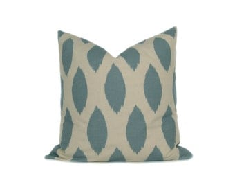 Pillow.Blue Ikat.20x20 inch.Printed Fabric Front and Back.Ikat.Blue and Cream Pillow.Decorative Accent Pillow