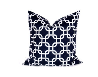 Decorative Throw Pillow Covers  Navy Pillow Cover 26x26 pillow cover. Euro Pillow Shams.Euro Pillow.printed fabric on front and back