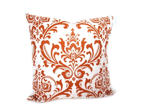 Orange Pillow .Burnt Orange. Pillow Cover. Fall Decor. Fall Pillow Cover ONE 18x18 Throw Pillow Cover Printed Fabric both sides Thanksgiving