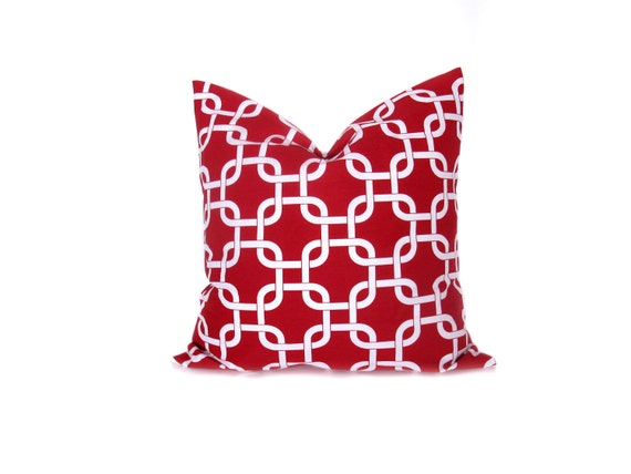 Decorative Throw Pillow Cover Red Pillow Cover Accent Throw Pillow Cover ONE Nautical Pillow Square 16x16 18x18 20x20 22x22