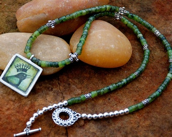 S A L E !!! - Jade Necklace with Green Bird, Gifts for Women, OOAK, Green Necklace, Bird Necklace Crow Lovers