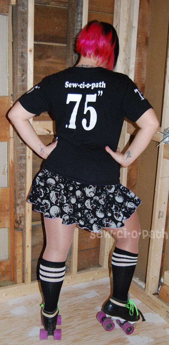 Roller Derby Skirt-Black and White Skull Print-Custom Size