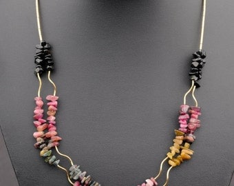 Multicolor Necklace, 2 Rows of Tourmaline Chip Beads and Gold Filled Curved Pipes, Rustic, For Any Outfit