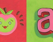 """Bright apple illustration - A is for apple - art for nursery or kitchen (11""""x17"""")"""
