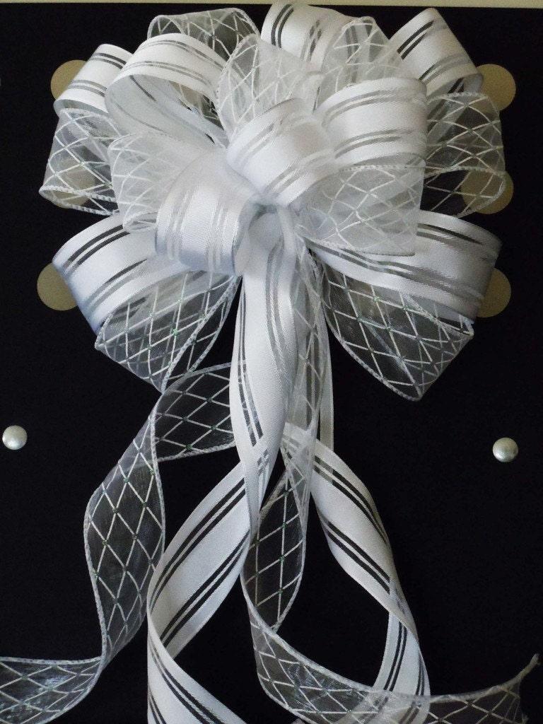 White pew bow wedding decor argyle satin white wedding pew bow white wedding chair bow white - Bow decorations for weddings ...