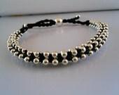 SAVE 25% Black Silver Beaded Friendship Bracelet Silver Balls