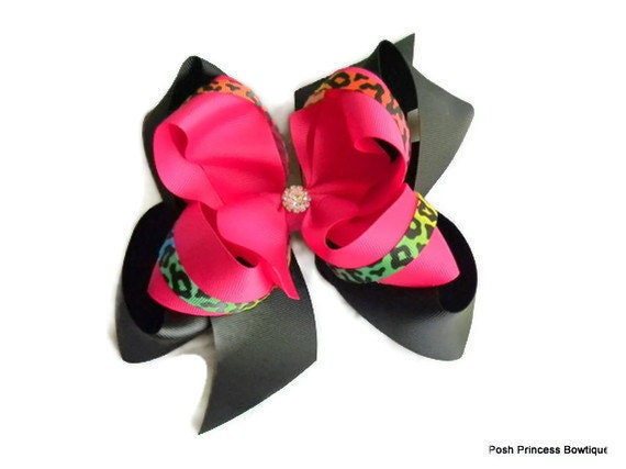 Girls hair bows, Big bows, Jumbo boutique hair bow, Neon, Rainbow, Leopard, Texas size, girls, babies, toddlers, Headbands, Leopard bows