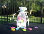 White Baby Carriage, Baptism Favors,  Baby Shower favors, Candy Containers, unique pouch, candy pouch, organza pouch (12 Pieces)