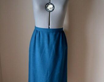vintage 60's 70's teal wool pencil skirt