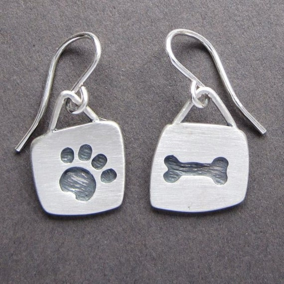 Dog Bone & Paw earrings/ Sterling Silver handmade in USA