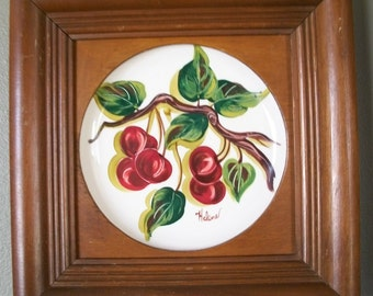 Vintage retro folk art hand painted cherries plate in a wooden frame signed Helene Home Decor Wallhanging Picture Shabby Chic