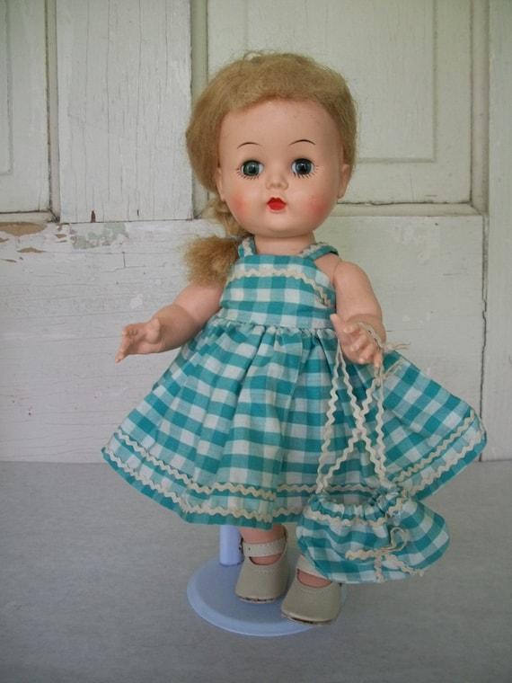 "Vintage 1957 Little Miss Addie 10 1/2"" hard plastic walking doll Childs Doll Hard Plastic Doll"
