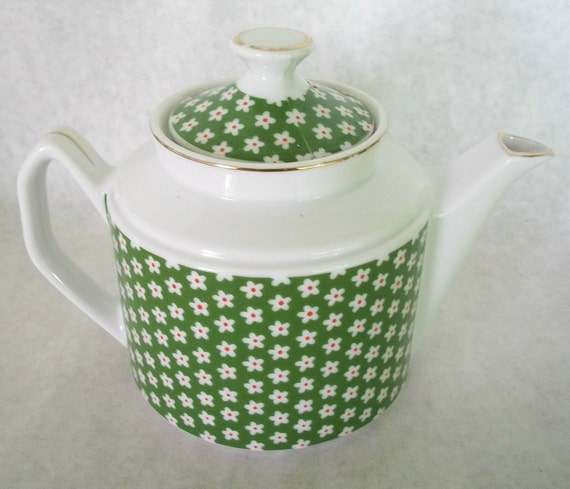 Vintage ceramic white and green tiny flowers tea pot from Eneso Imports Japan Shabby Chic Cottage Chic Boho