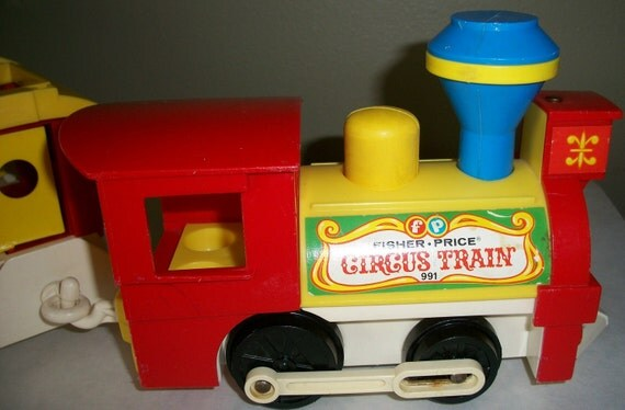 Vintage Fisher Price Circus Train and monkey car 1973 childrens toy Train Set Plastic Toys Bright Colors