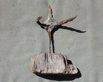 "Drift Wood and Iron Sculpture -""Open Arms"" Iron human figure in drift wood base-Authentic Driftwood From The Shores of New England-Cottage"