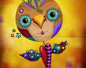 "Title: ""Dream Bird"" Art Print. Inspirational colorful Giclee Art Print"