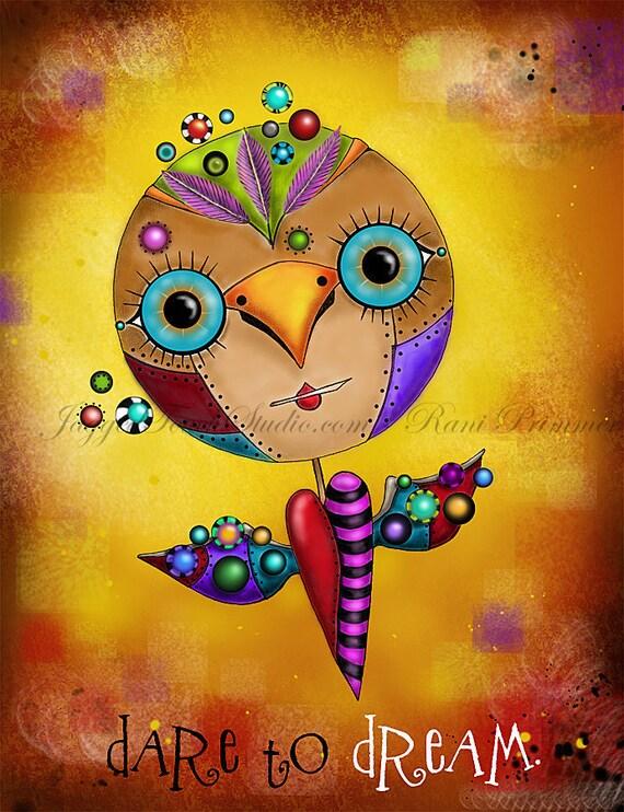 "Title: ""Dream Bird"" Art Print. Inspirational colorful Giclee Art Print"