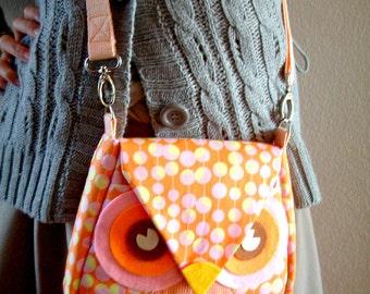 Orangi Orange: Dot Flip Owl Bag, messenger bag, tote, animal, women, kid bag, children bag, fabric bag, girl, boy, 10.5% OFF