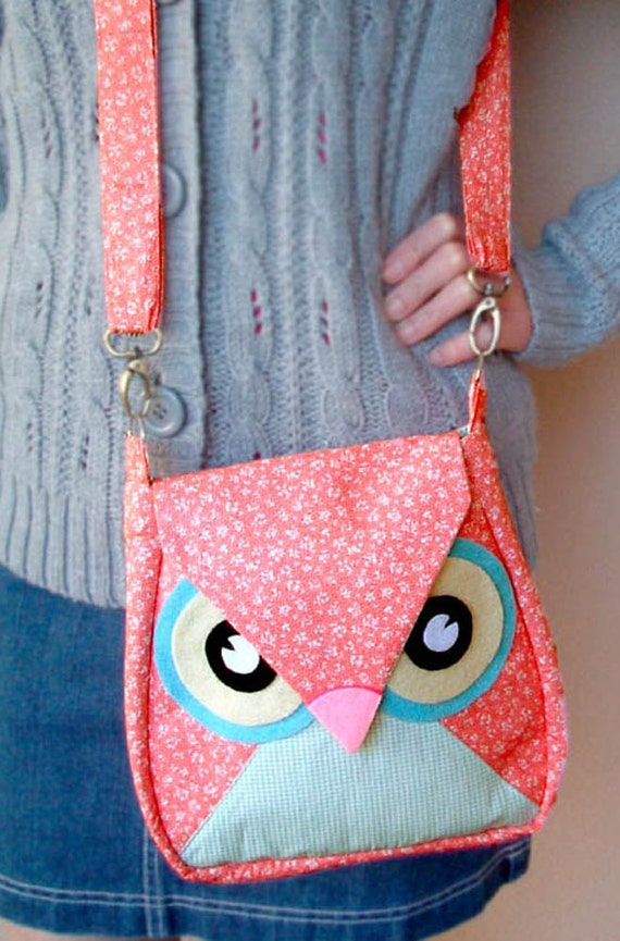 Sakura: Pink Flip Owl Bag, messenger bag, tote, animal, women, kid bag, children bag, fabric bag, girl bag, boy bag, iammie