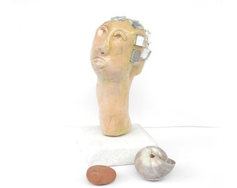 Ceramic sculpture ,Ceramic head, Sculpture of  a head, Porcelain head ,  Head figure, Head, Head statue, Porcelain figurine