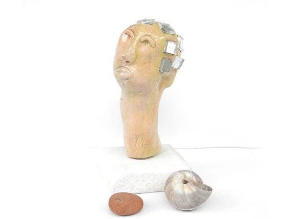 Ceramic sculpture ,Ceramic head, Sculpture of  a head, Porcelain head ,  Head figure, Head, Head statue, Porcelain figurine