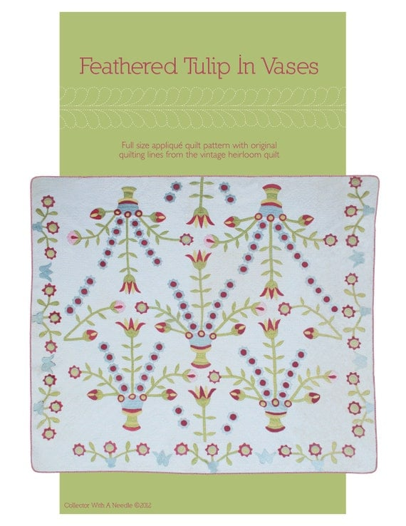 Feathered Tulip In Vases Appliqe Pattern