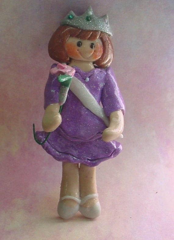 Polymer Clay Milestone Ornament Girl Princess Crown Sash Rose Queen Prom