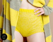 knitted shorts panties transparent bulky mohair wool yellow theknitkid - THEKNITKID