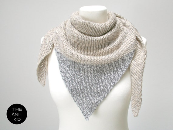 triangle scarf cashmere merino angora birch grey gray theknitkid