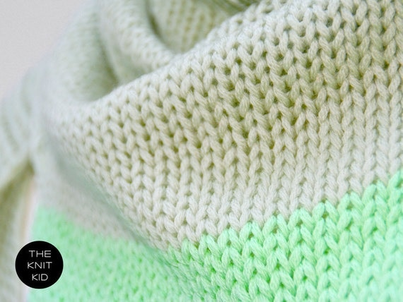 THE KNIT KID pastel green mint triangle scarf merino theknitkid knitted scarf wool