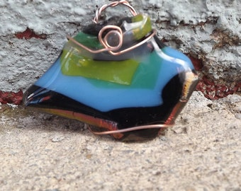 Copper Wrapped Pendant, Fused Glass Jewelry, Fashion Jewelry, Beach Jewelry