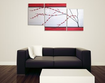 """Red Cherry  Blossom on 20""""x 41""""  multi-sectional set, landscape, canvas art, triptych painting"""