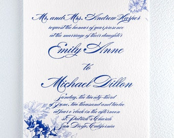 Printable Botanical Wedding Invitation - Cornflower Invitation