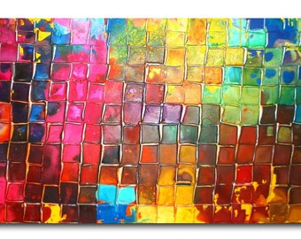 Original Mosaic Art by Caroline Ashwood - Textured and contemporary modern painting on canvas - FREE SHIPPING