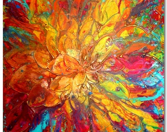 Original XXL Flower Art by Caroline Ashwood- Textured and contemporary abstract painting on canvas - FREE SHIPPING