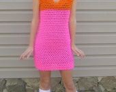 Neon crochet dress, bright hot pink and hot orange, color block dress, size small or medium