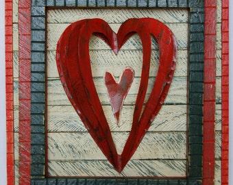 Recycled Folk Art Heart Wood & Metal Wall Art