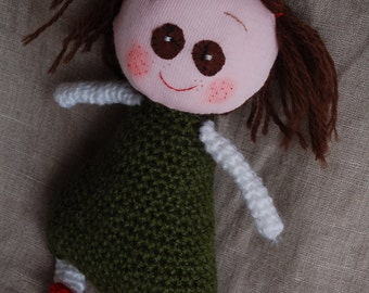 rag doll with personality, smiling plush toy Kiki.. Immediate and FREE SHIPPING.