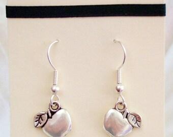 Apple earrings - silver apple jewelry, jewellery, apples, 3D, 3 d, double sided