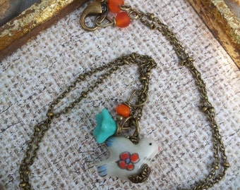 bird with flowers: dove, turquoise flower, birthday gift, mom to be jewelry
