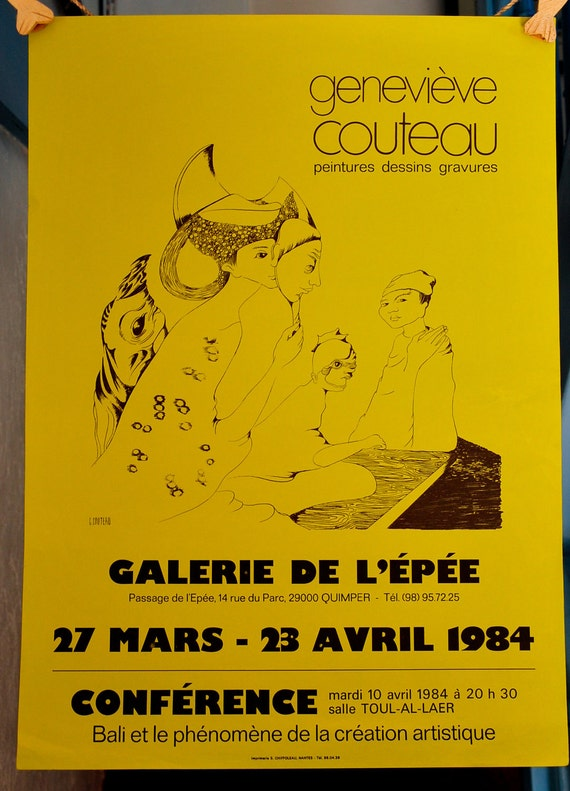 Art Gallery Ad Print for a Lithographs/Drawings/Paintings Exhibition - France