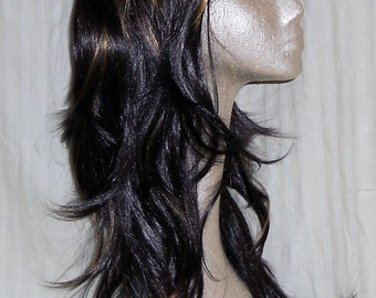 Olympia  - Beautiful Long Dark Brown Synthetic Wig with bangs, Caramel Highlights and Layers