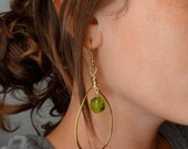 Hammered Brass & Green Glass Earrings